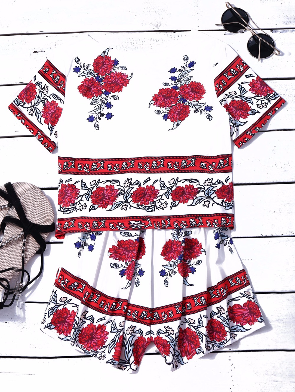 HTB1G2dYPVXXXXcsaXXXq6xXFXXXb - Summer Women Suits Retro Rosemary Floral Crop Top Shorts Set JKP042