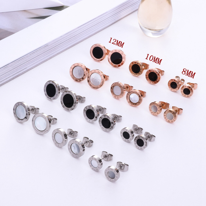HFYK 2019 diameter 8mm 10mm 12mm round stud earrings for women girls, stainless steel small Roman numerals pendientes