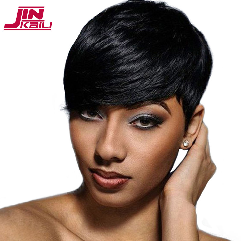 JINKAILI WIG Short Black Wigs for Women Heat Resistant Synthetic Pixie Cut Wig Costume C ...