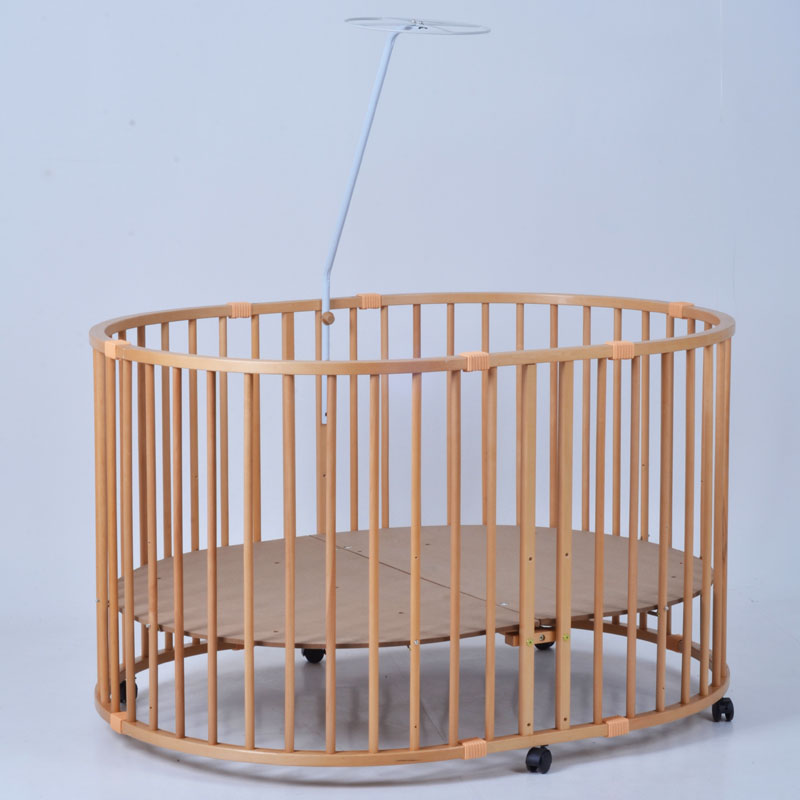 European Large Oval Baby Bed, Solid Wood Multifunctional Safety Game Fence, Walker, Elliptical Fence camp safety oval xl lock