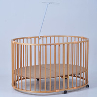 European Large Oval Baby Bed, Solid Wood Multifunctional Safety Game Fence, Walker, Elliptical Fence