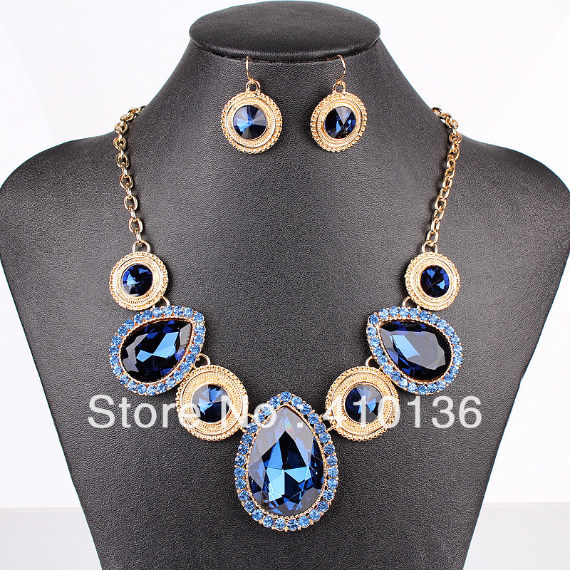 PN12539 Fashion Crystal Jewelry Sets Navy Blue Crystal New Design