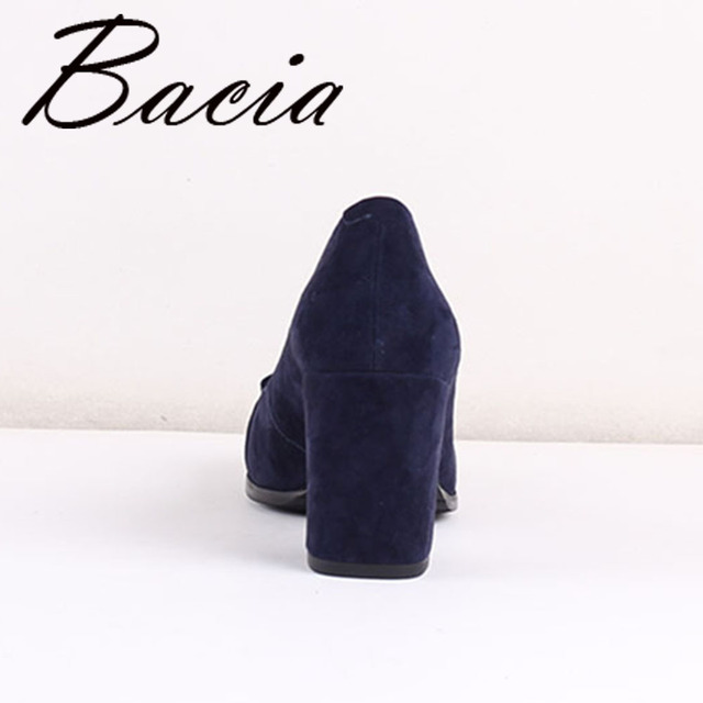 Bacia Sheep suede Pumps Blue 7.5cm Thich & High Heels  Genuine Leather Ladies Shoes Round Toe Bowtie Shoes Pump Size 35-41 SB026