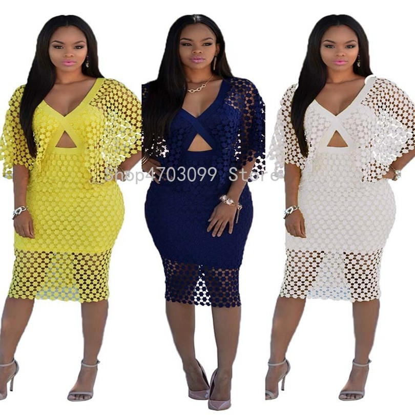 African clothing deep V-neck lace cloak sleeve pencil dress summer knee length beach