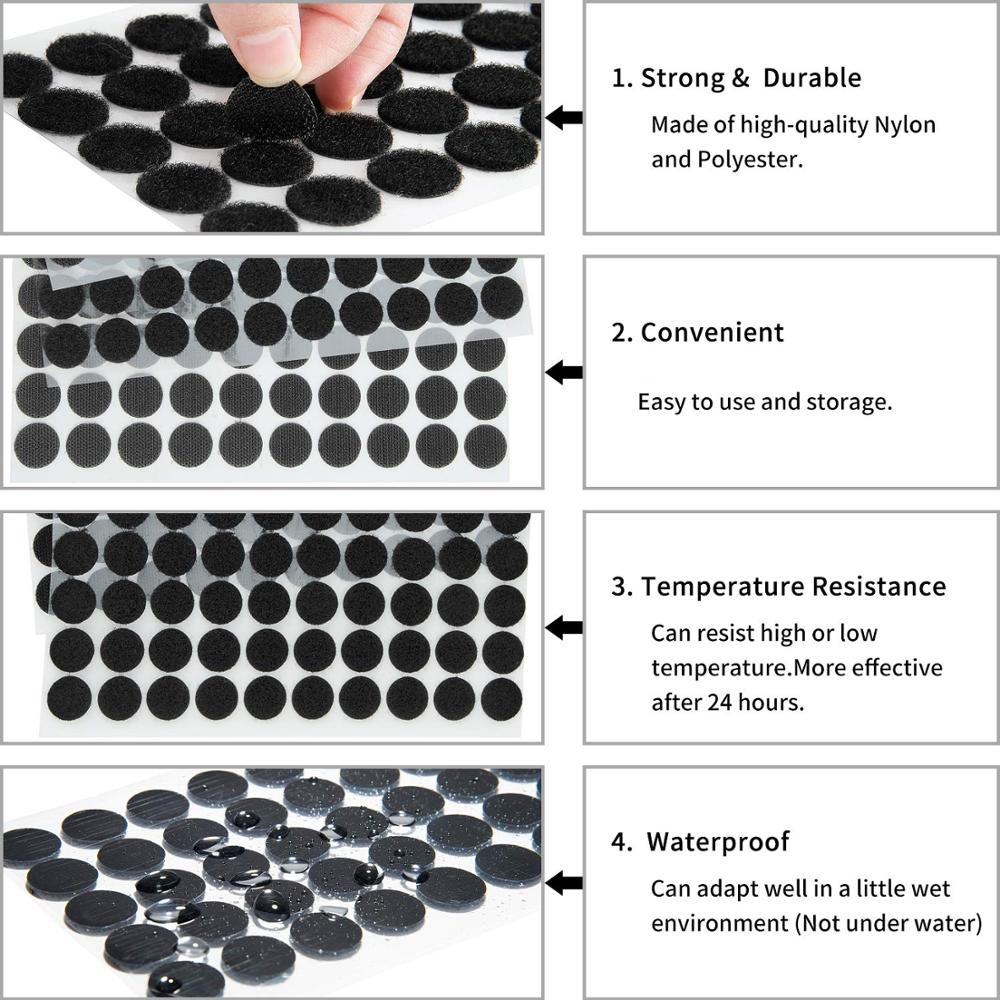 48 x White Hook /& Loop Fastening Pads Coins Self Adhesive Stick On Posters Offic