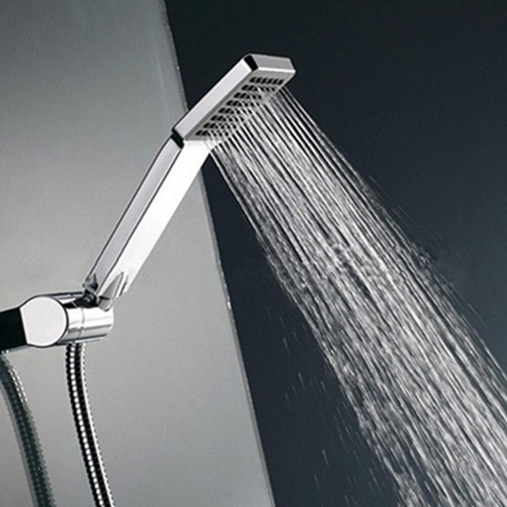 1pc Universal Handheld Chrome Water-Saving Pressure Rainfall Square Nickel ABS Hand Held Shower Head Handshower For Bathroom