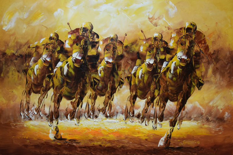 Hand Painted Modern Palette font b Knife b font Animal Oil Painting on Canvas Horse Racing