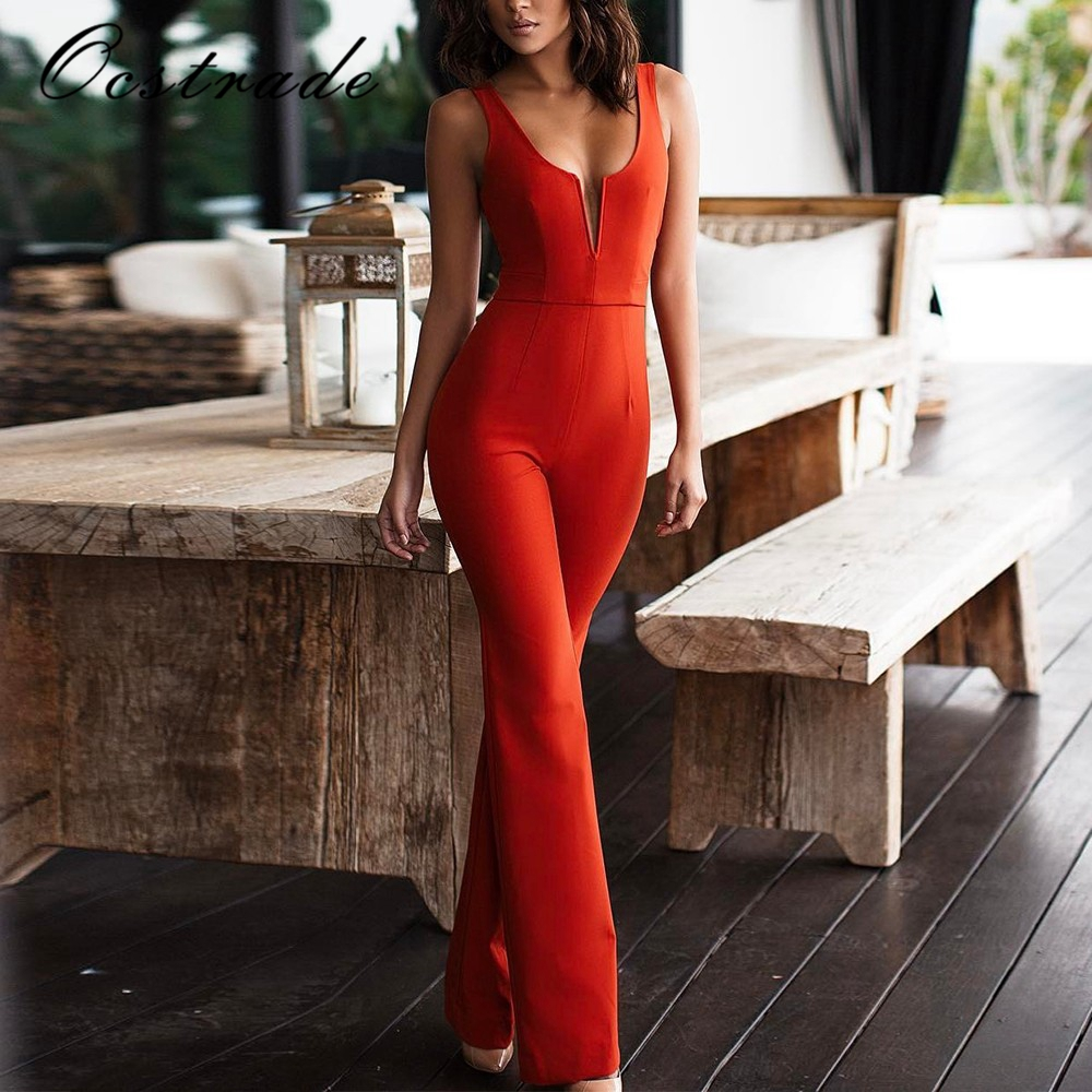 Ocstrade Sexy Bandage   Jumpsuit   2018 Women Rayon Spandex New Arrival Red V Plunge Bodycon   Jumpsuit   Romper Sleeveless Party Club