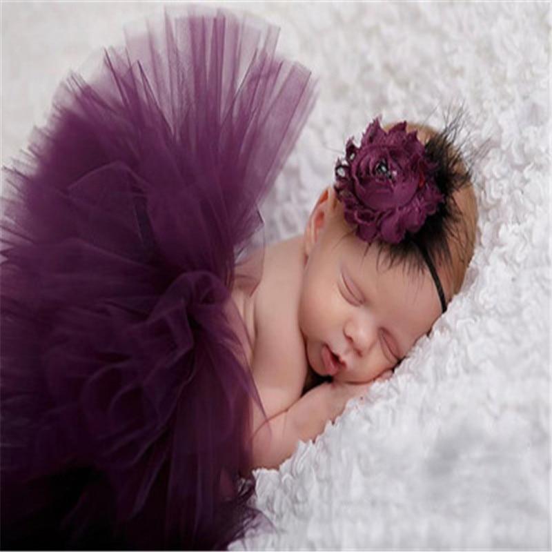 Новорожденных реквизит для маленьких девочек фиолетовый перо павлина юбка аксессуары фото-пачка комплекты + повязка на голову с цветком де... ...