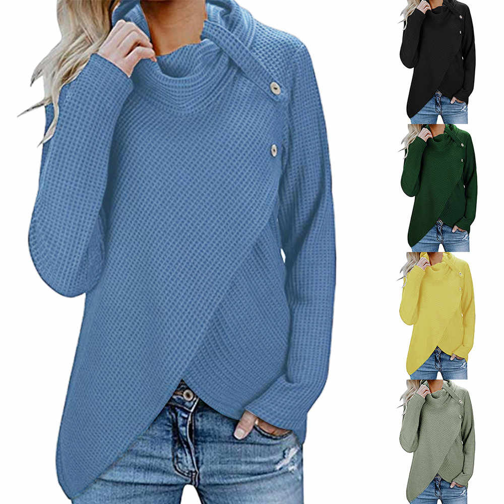Womens Long Sleeve Button Cowl Neck Casual Knitted Pullover Tunic Sweaters  Plus Size Jumper Top Autumn ad05e3c80c8d