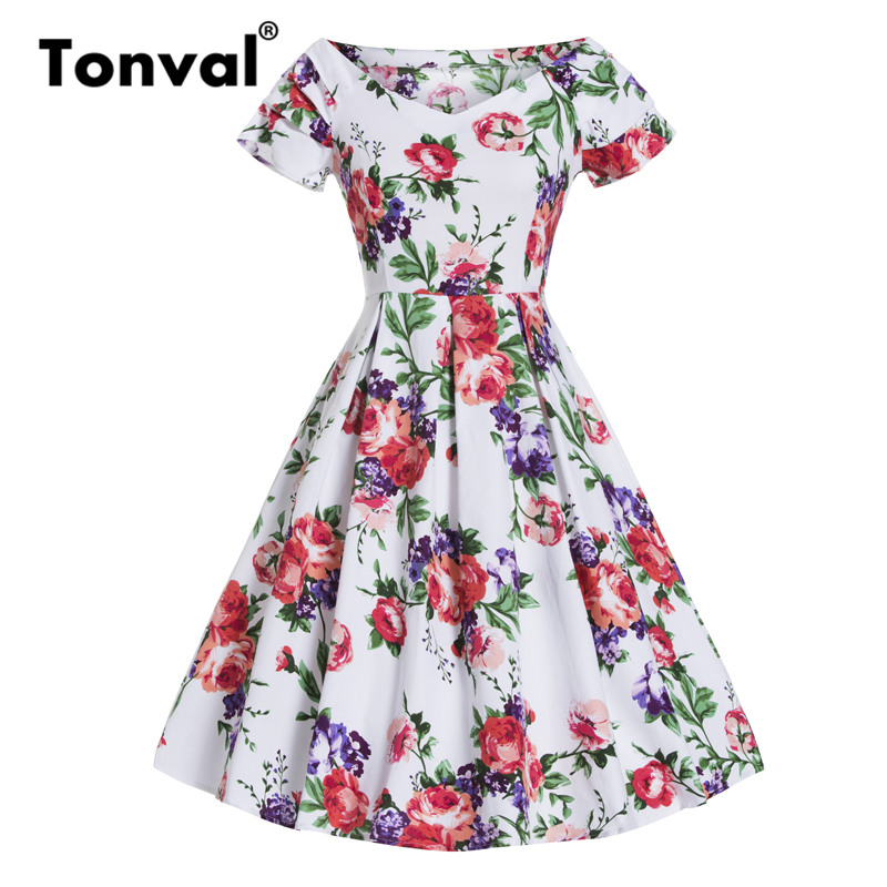 Tonval Vintage White with Flower Elegant Pleated Dress Women Pin Up Floral Party Sexy Dress Retro Cotton Summer Dresses