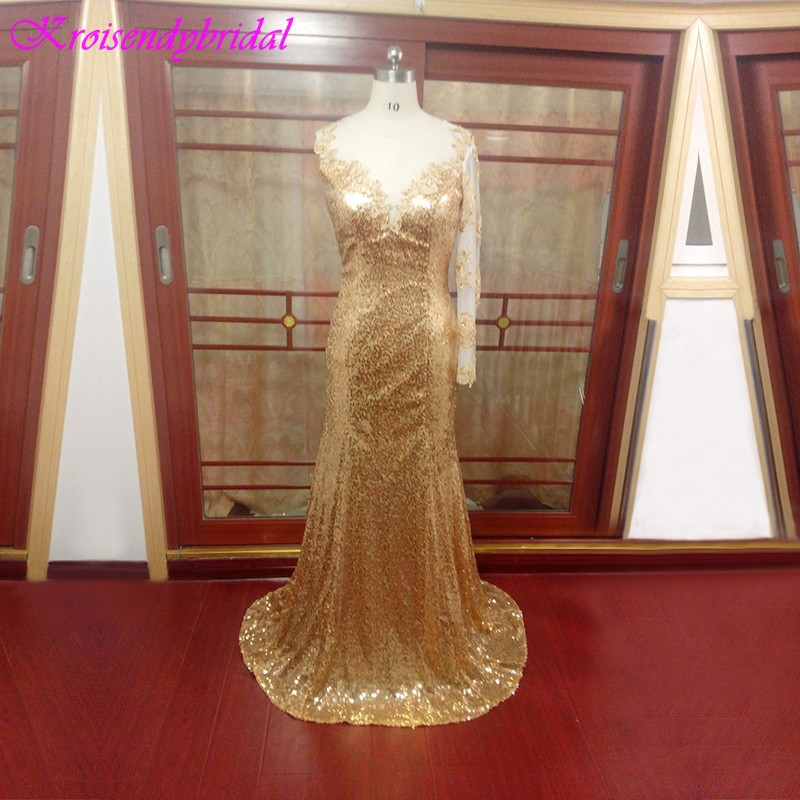 ZGS235 vestidos de festa Girls Fashion Dresses Evening China Luxury One Sleeve Sexy Gold Sequins Prom Dresses Long 2017