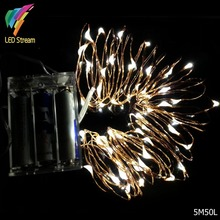 Battery Operated 5M 50leds Mini LED Decorative Copper Wire Fairy String Lights lamp for Christmas, Holiday, Wedding and Parties