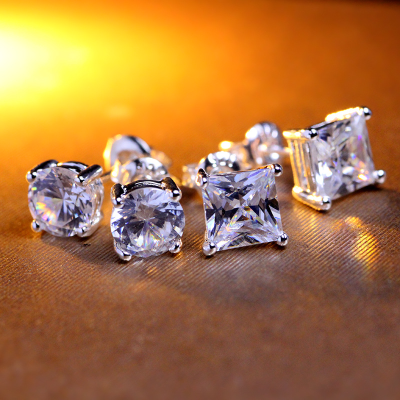 Tassina 2016 New Fashion 7mm Zircon Men Earrings Crystal Colors Square and Round Man Jewelry Male Women Stud Earrings A38