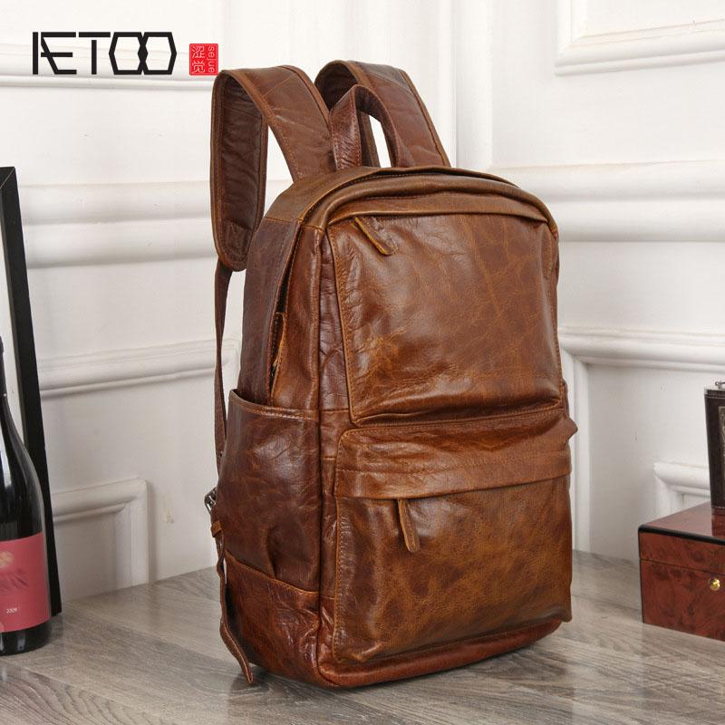 AETOO Retro Shoulder Bag Men 's Leather Backpack Head Layer Leather Travel Bag Oil Wax Skin Casual Computer Bag slow head layer cowhide handbag retro oil wax bag leather bag travel bag