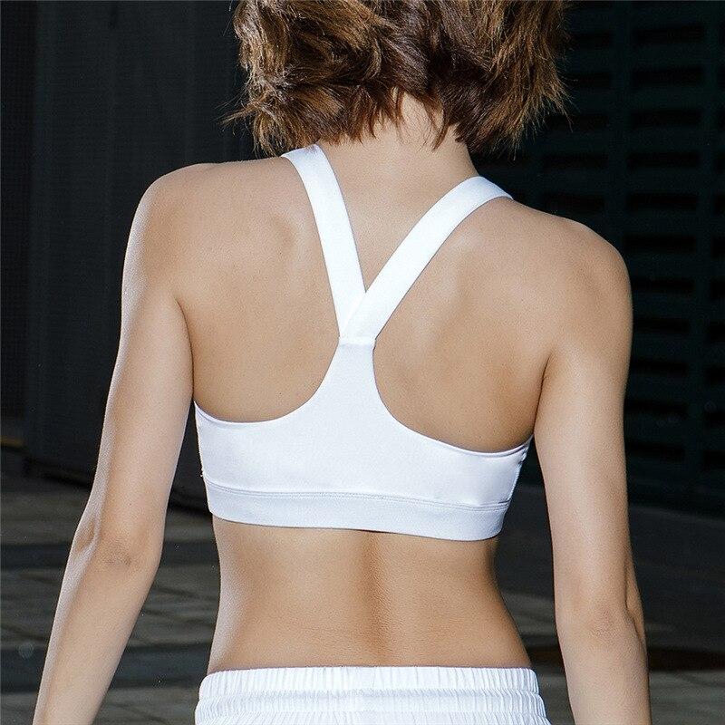 Zhangyunuo Women Yoga Bra Plus Size Patchwork Sports Bra Gym Cross Backless Bra
