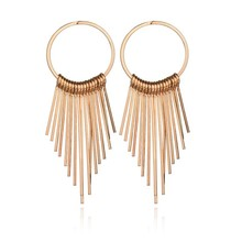 gold color rivet tassel punk metal fashion nightclub Stud Earring Women
