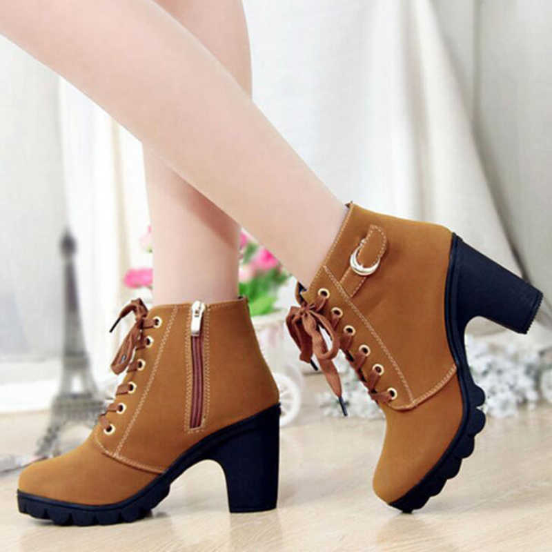 ผู้หญิงข้อเท้ารองเท้า 2019 ฤดูใบไม้ร่วงรองเท้าผู้หญิงรองเท้าส้นสูง 8.5 ซม.ผู้หญิง lace-up martin boots botas de mujer พลัสขนาด 35-41