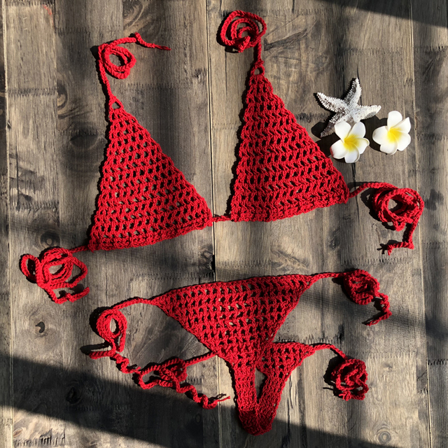 2019 New Handmade Crochet Micro Bikini G Thong String Beach Micro Swimwear Sexy Lingerie Sets Hot Sale 3