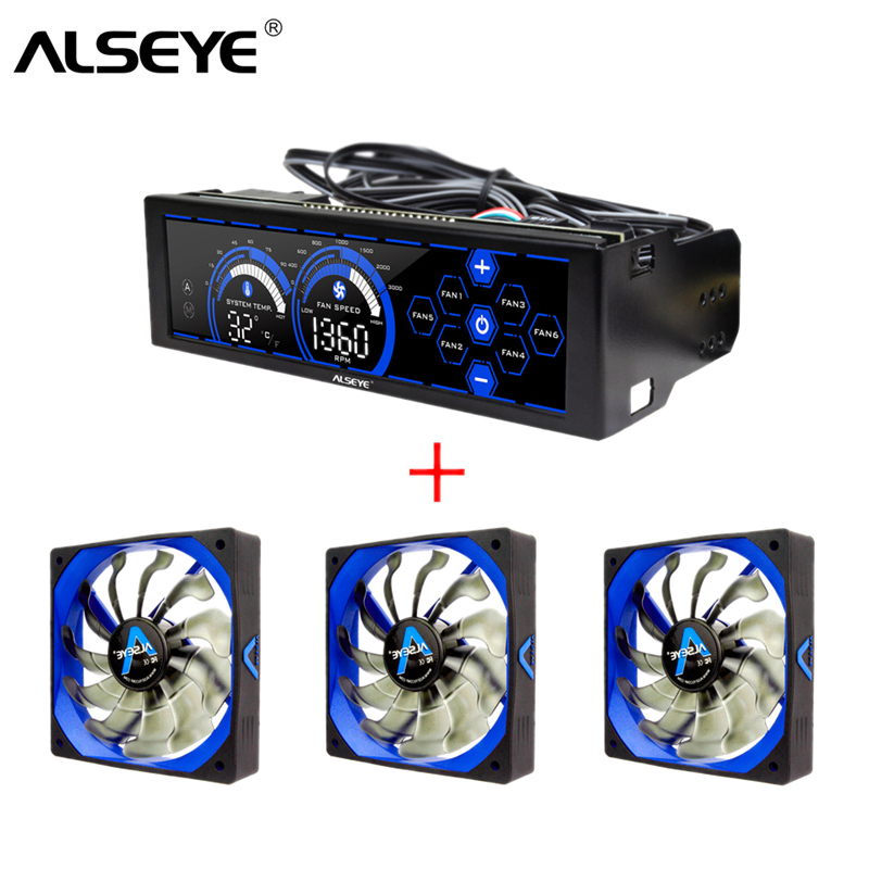 ALSEYE Computer Fan Controller And PWM 120mm Fan Kit For PC Cooling 3/4pin 12v 2000RPM Cooler And Cooling Fan Speed Controller