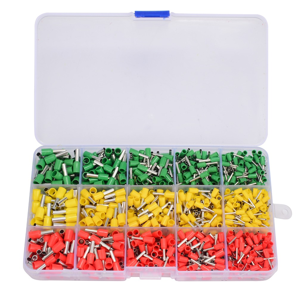 990pcs Crimp Terminal Wire Connectors + Ferrule Crimper Plier Crimping Tool Kit Set Yellow Red Green wire crimper plier adjustable ratcheting ferrule end cord crimper plier terminal crimping tool