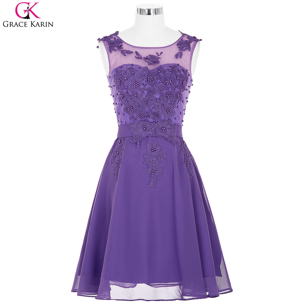 Search list purple short bridesmaid dresses under 50 grace karin vestidos chiffon sleeveless beaded elegant brides maid dress ombrellifo Image collections