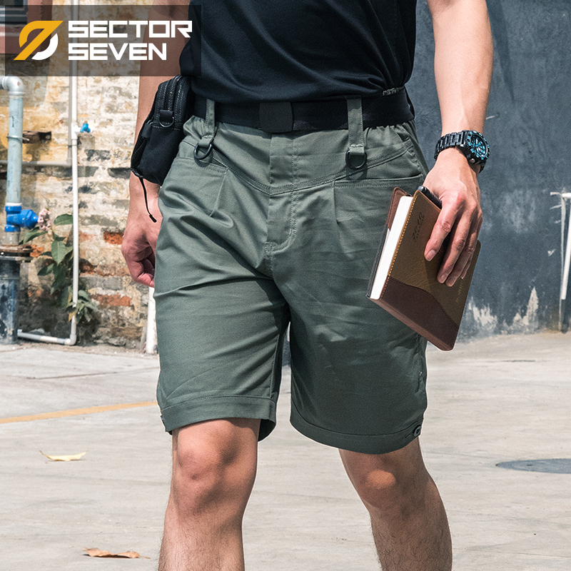 Sector Seven Regular Men's Fashion Casual Shorts Summer Lightweight Knee Length Short Tactical Cargo Shorts Mid Waist Elastic