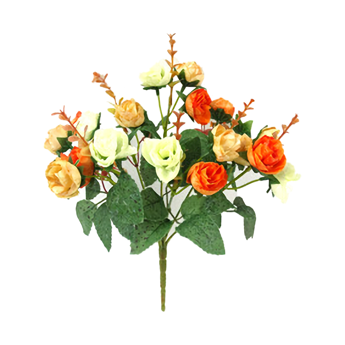 21 Heads Artificial Silk Cloth Rose Flowers Fake Leaf Wedding Bouquet Home Decoration, Orange