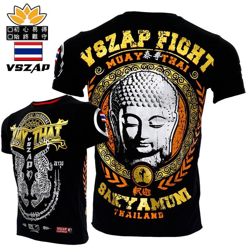 VSZAP Shakyamuni Fighting Muay Thai Boxing MMA Fighting Boxing Shirts For Short Sleeve T-shirt Male Fitness Muscle Free Comba