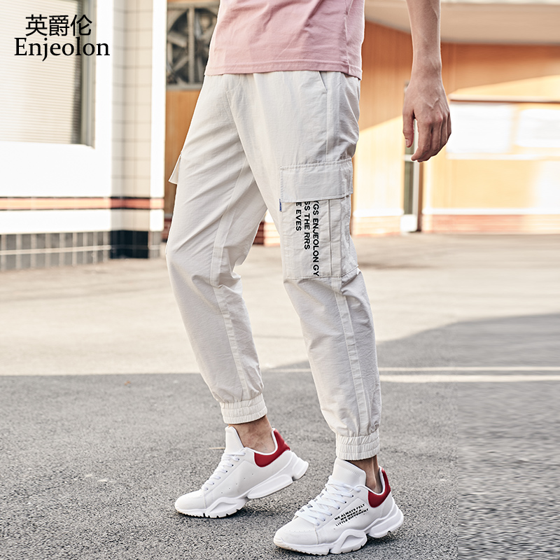 Enjeolon New Summer Long Casual Pants Men Sweatpants For Men Big Pocket Cargo Joggers Letter Embroidery Pants Streetwear K6620(China)