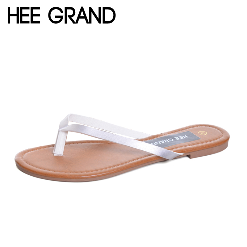 HEE GRAND 2017 Gold Silver Flip Flops Casual Summer Gladiator Slides Beach Slip On Flats Platform Shoes Woman Slippers XWZ4377