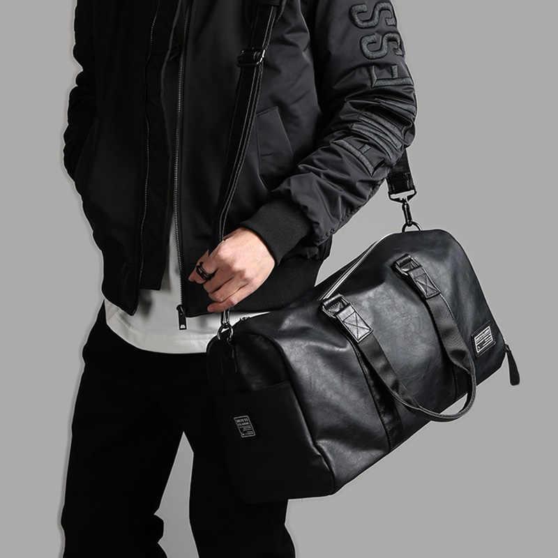Erkek deri seyahat çantası büyük spor bağımsız ayakkabı depolama büyük spor çanta çanta çanta bagaj omuzdan askili çanta siyah XA237WC