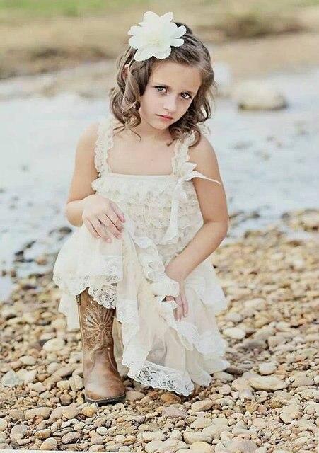 0fec48c1ad Champagne Lace Rustic Flower Girl Dress