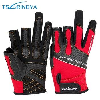 Guantes de pesca transpirables Tsurinoya sin dedos expuestos para hombres y mujeres, guantes antideslizantes para navegación, pesca, guantes de caza impermeables