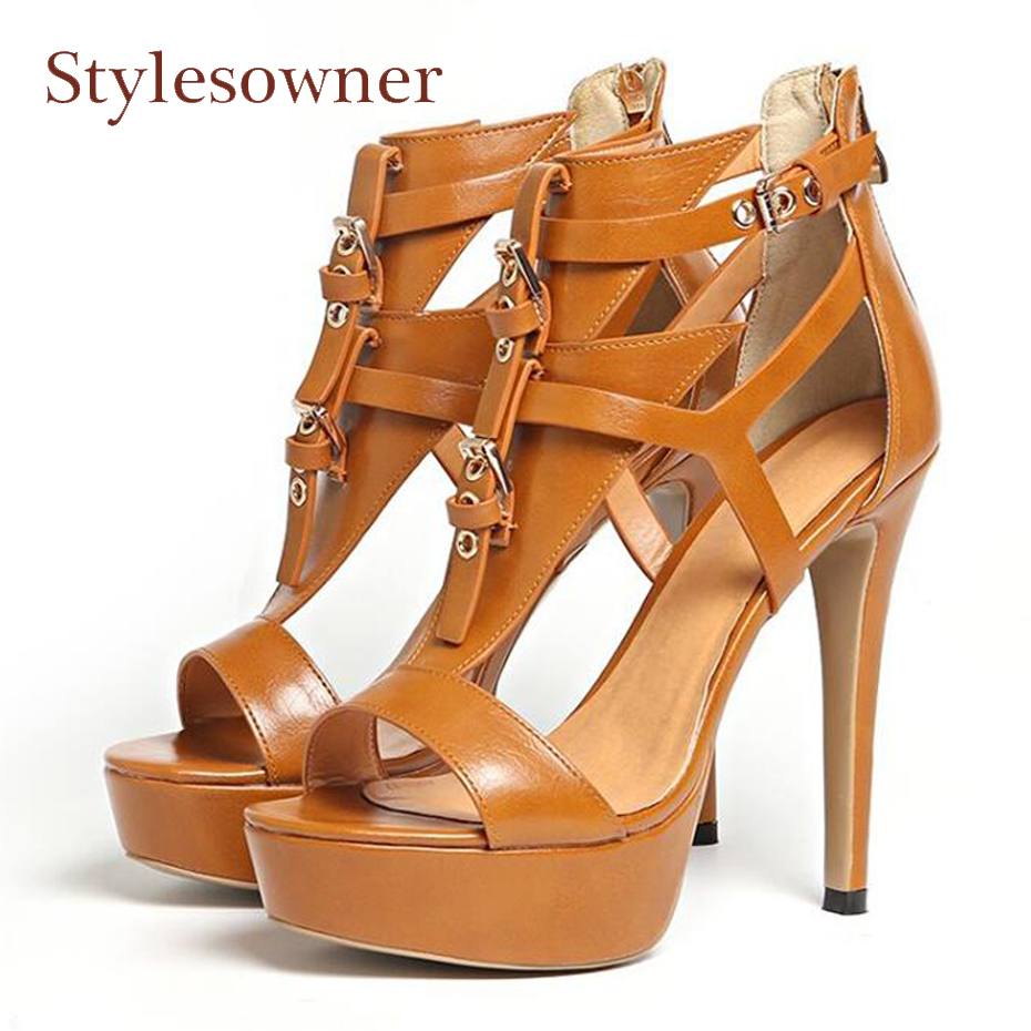 Stylesowner 2018 summer leather platform peep toe gladiator sandals women buckle t-strap 12cm stiletto heels women pumps shoes dijigirls women pumps peep toe high heels gladiator sandals shoes woman party wedding flock leather stiletto lace up summer boot