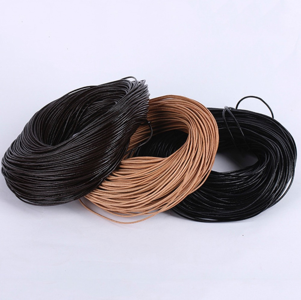 2m/lot 1/1.5/2/2.5/3/4/5mm Black/Brown/Coffee Round Genuine Leather Jewelry Cord String Lace Rope DIY Necklace Bracelet Finding