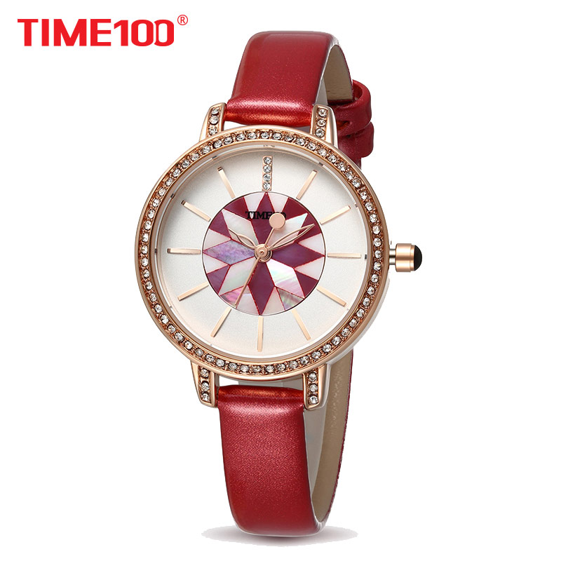 TIME100 Women Watches red leather Bracelet Quartz Wrist Watches For Women Shell Dial Ladies Clock relogio feminino time100 vintage women s bracelet watch diamond shell dial copper plated strap ladies quartz watches for women relogio feminino