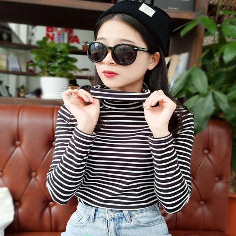 HTB1G2gLlHZnBKNjSZFKq6AGOVXaF - Fashion Black White Striped Women Long Sleeve T-shirt Turtleneck Female