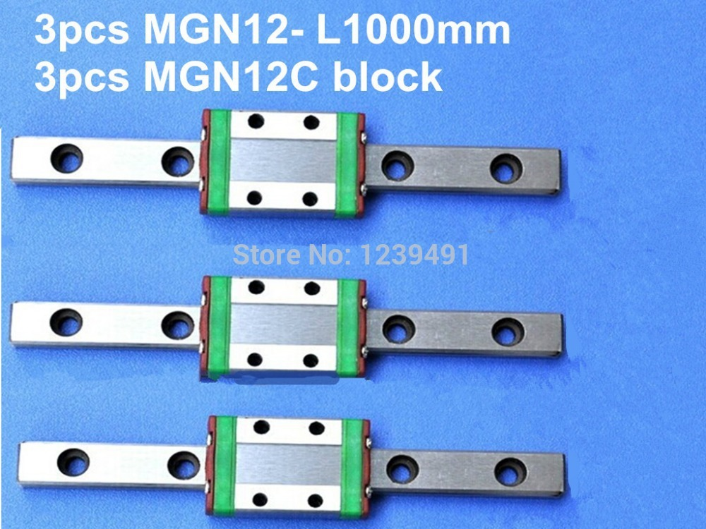 ФОТО 3pcs 12mm linear rail guide MGN12- L1000mm with 3pcs mini MGN12C linear block