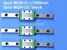 3pcs 12mm linear rail guide MGN12- L1000mm with 3pcs mini MGN12C linear block kossel mini for 12mm linear guide mgn12 l 300mm linear rail mgn12c long linear carriage for cnc x y z axis 3d printer part