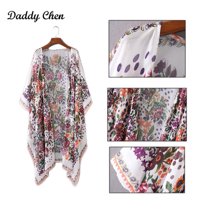 Japanese Kimono robe Cardigan Women Fashion Chiffon Street Casual Wear Floral Print Cover Up Beach Long Blouse v neck bat shirts 4