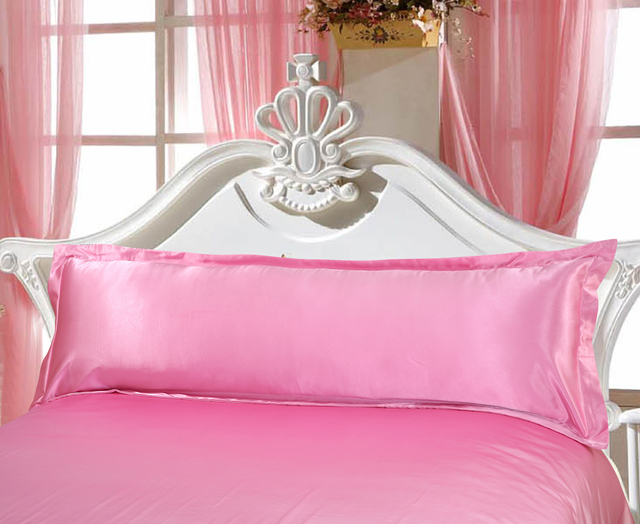Direct Selling Long Pillowcase White Solid Pillow Case Cover Silk Satin Fabric Home Textile 1pc 2 Size for Bedroom