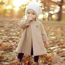 Новинка; модное двубортное теплое пальто для девочек; однотонное длинное пальто для малышей; детская одежда; Верхняя одежда; куртка на пуговицах