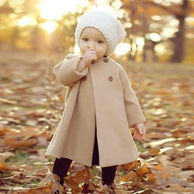 New Fashion Girls Double-breasted Warm Coat Jacket Baby Solid Color Long Section Coat Children's Clothing Outwear Button Jacket