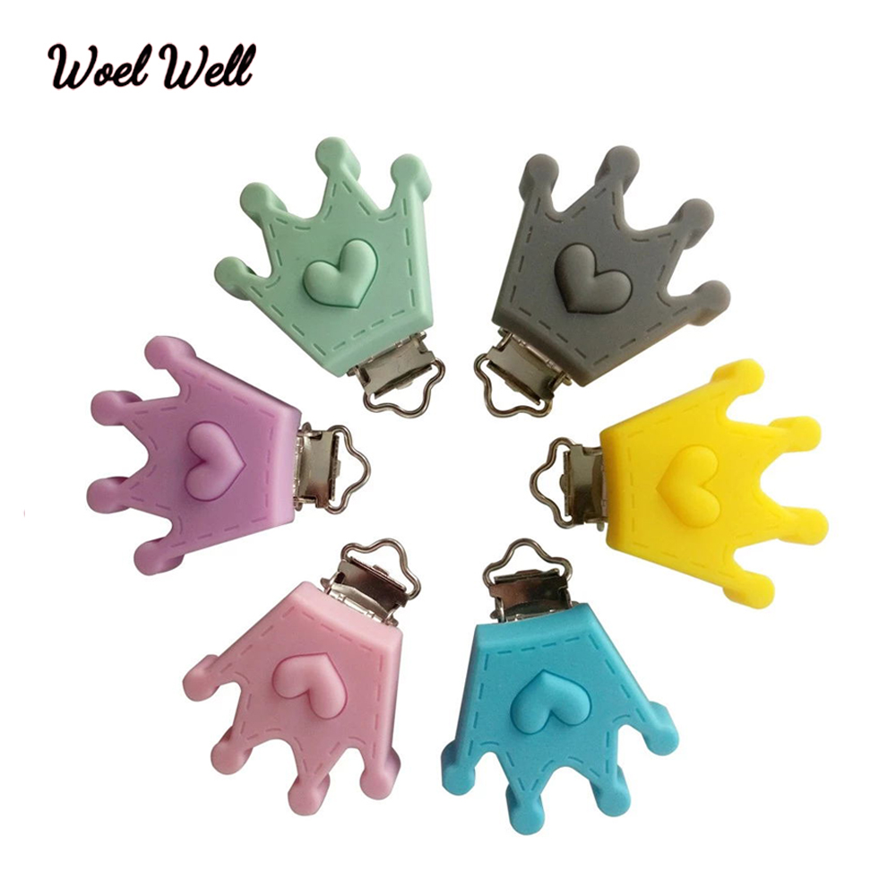Woel Well 1PCS Crown Shaped Pacifier Clip Silicone Bead Baby Teether Teething Accessories Clip Nipple Clasps Toy DIY Bead Tool