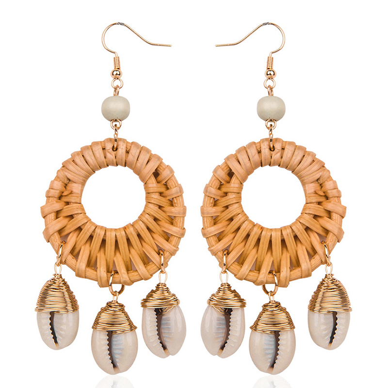 AENSOA Korea Handmade Bamboo Shell Tassel 2019 New Round Long Earrings for Women Straw Weave Rattan Vine Braid Earrings Jewelry