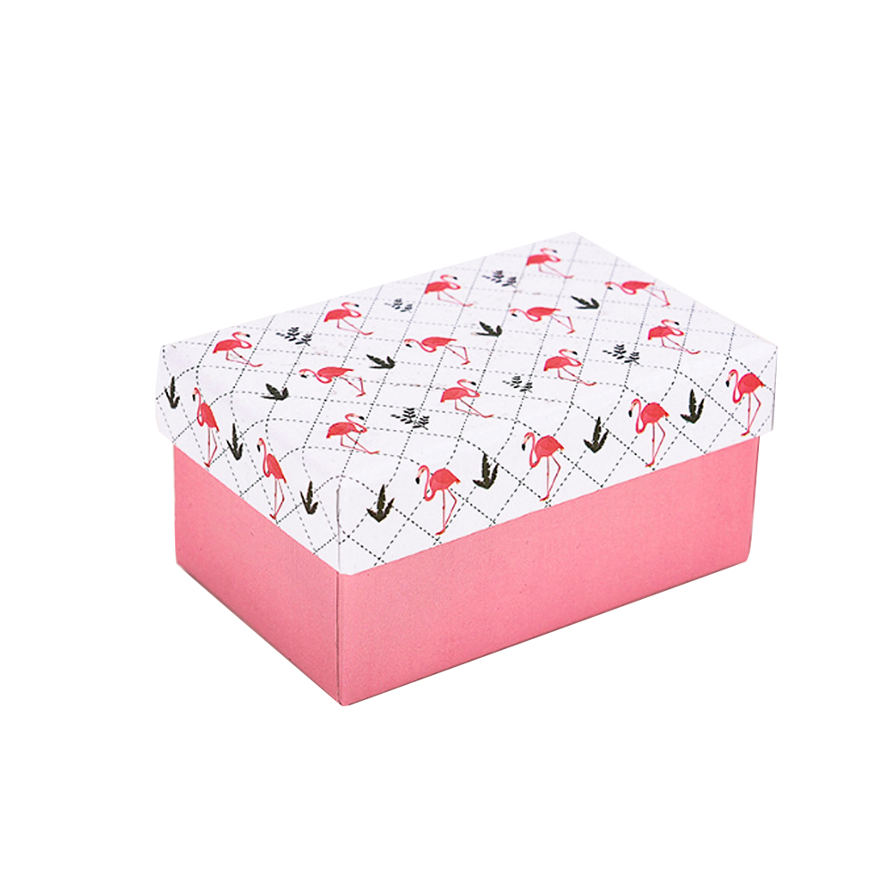 Jewelry Cardboard-Boxes Packaging-Box Gift Flamingo With Kraft Paper Lid Leaf 1/4pcs