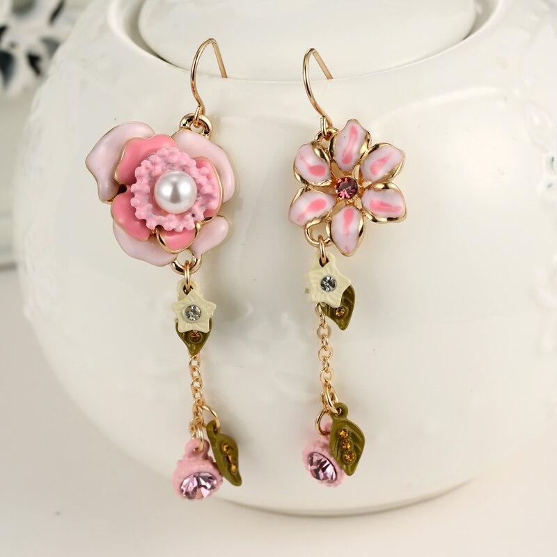 New Fashion Flower Crystal Earrings Flower Rhinestone Earrings for Women