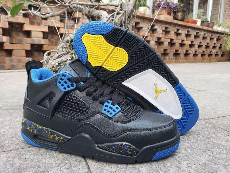 2019 New Original Jordan 4 retro Men shoes basketball shoes sneakers Black blue AJ4 Sports Training shoes 308497-1212019 New Original Jordan 4 retro Men shoes basketball shoes sneakers Black blue AJ4 Sports Training shoes 308497-121