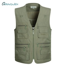 Grandwish Large Size Olympina Mens Army Casual Vests With Many Pockets Male Sleeveless Fashion Waistcoats Plus Size XL 5Xl,DA757